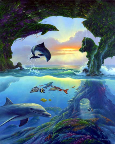 Dolphins At Daybreak And Underwater Creatures Process