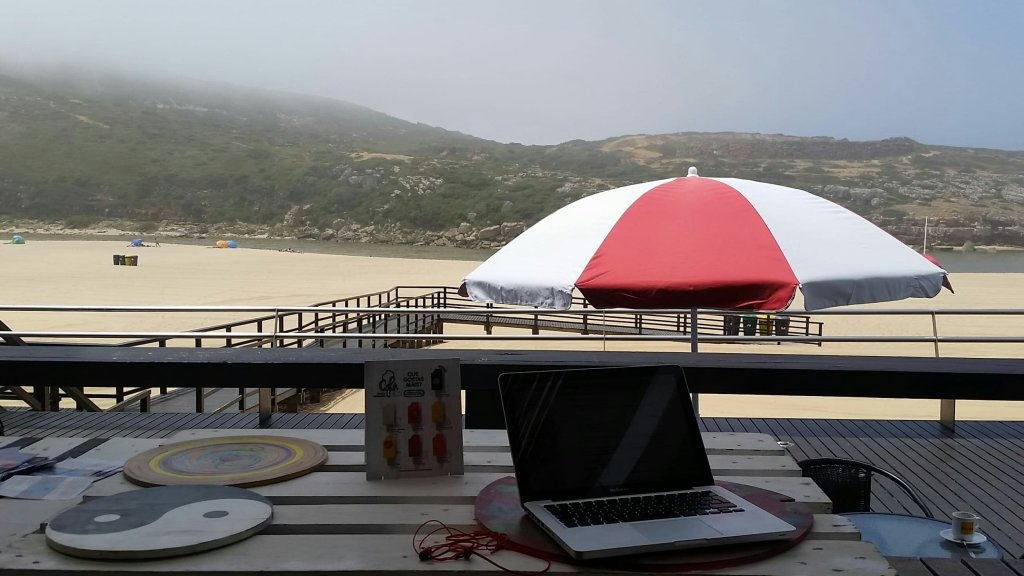 Writing at the beach...