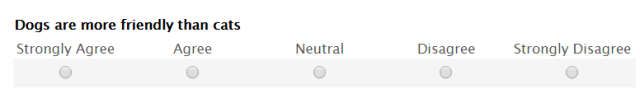Likert scale example for 5 response options