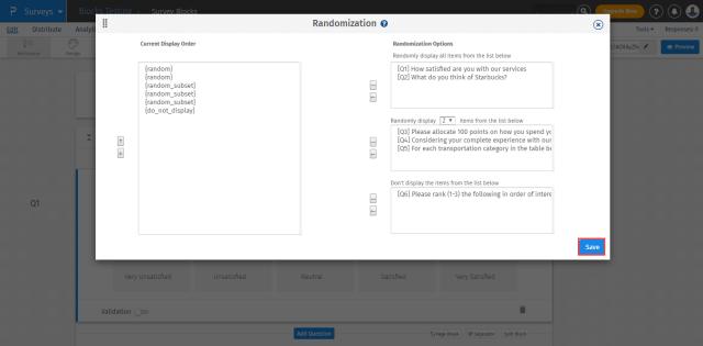 randomization in survey blocks