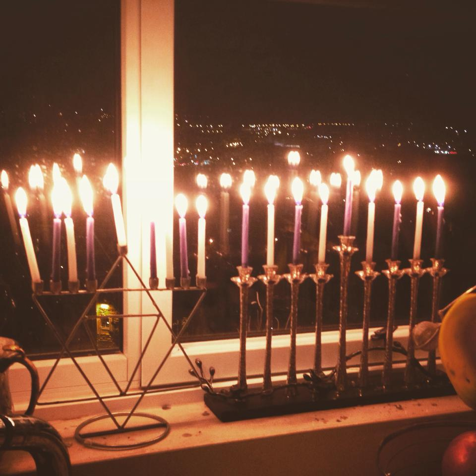 Eighth Night Of Hanukah With All 8 Candles Lit