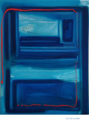 Indigo Pt.2 - Acrylique et pastels sur toile, 70x90 2004