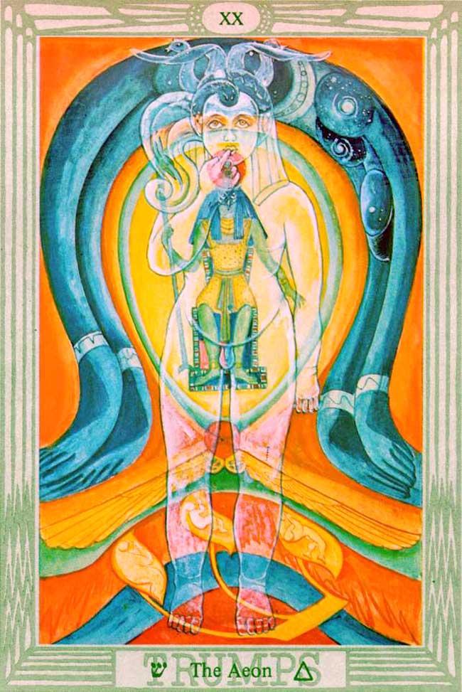O Eon, Arcano Maior XX do Tarô de Toth, simboliza a Nova Era de Thelema