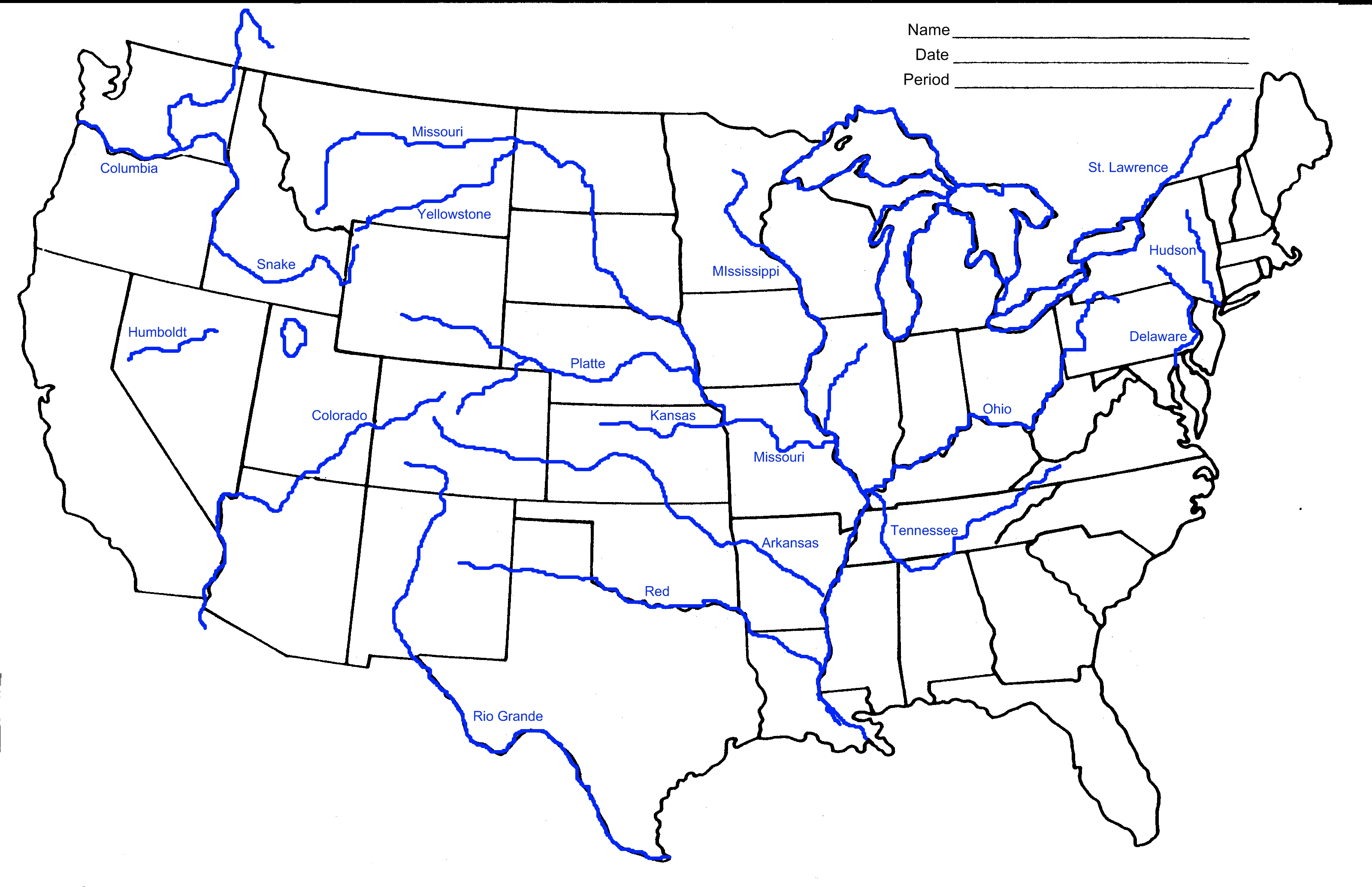 Us Map With Rivers