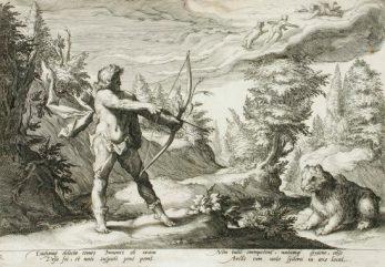 Hendrik Goltzius (Holland, Mülbracht, 1558-1617). Arcas si appresta ad uccidere Callisto trasformata in orso.
