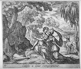 Antonio Tempesta (1555-1630), Giove seduce Callisto.