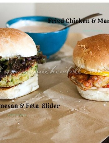 Pea Parmesan and feta + fried chicken and mango slider