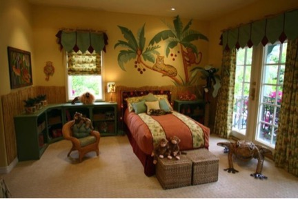 Jungle-themed bedroom