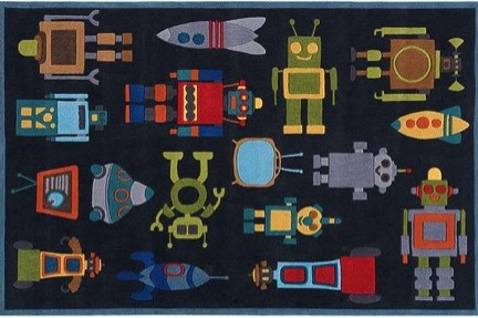 Robot-patterned floor mat