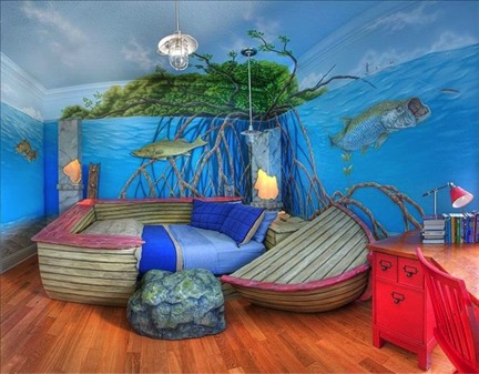 Children's bedroom with undersea wall paintings