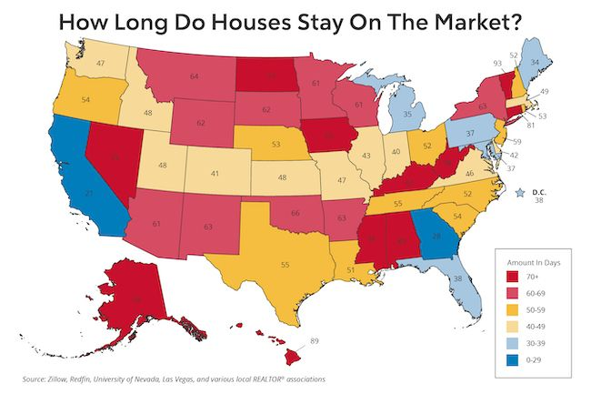 Heat map titled, How Long Do Houses Stay On The Market?