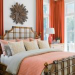 HGTV Dream Home 2020 - Master Bedroom featuring brown decor and coral bedding and drapes