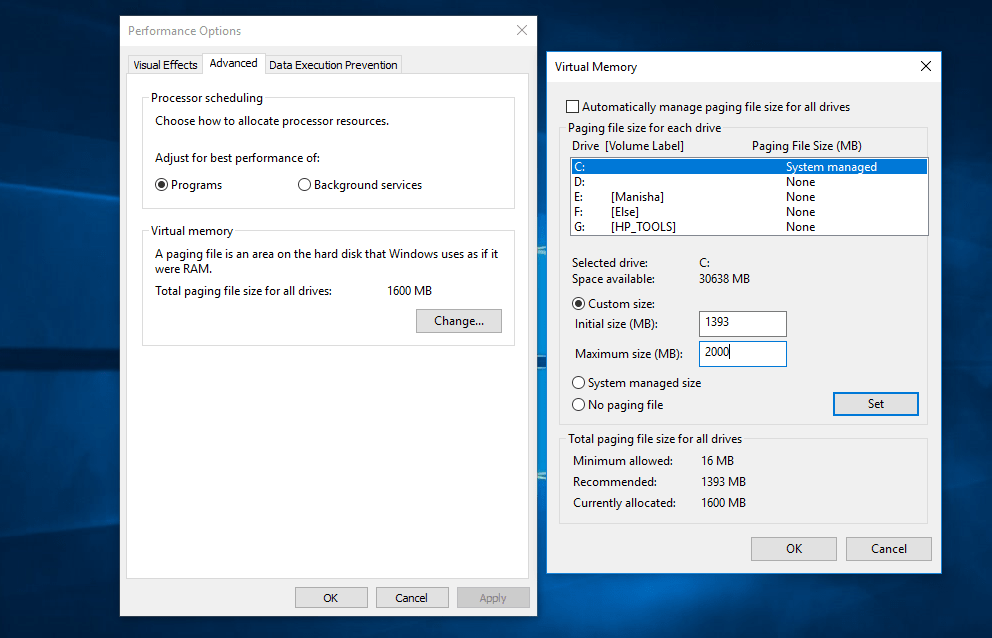 virtual memory windows 10, fix, adjust
