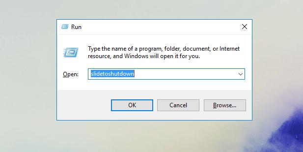 slide to shutdown, windows 10