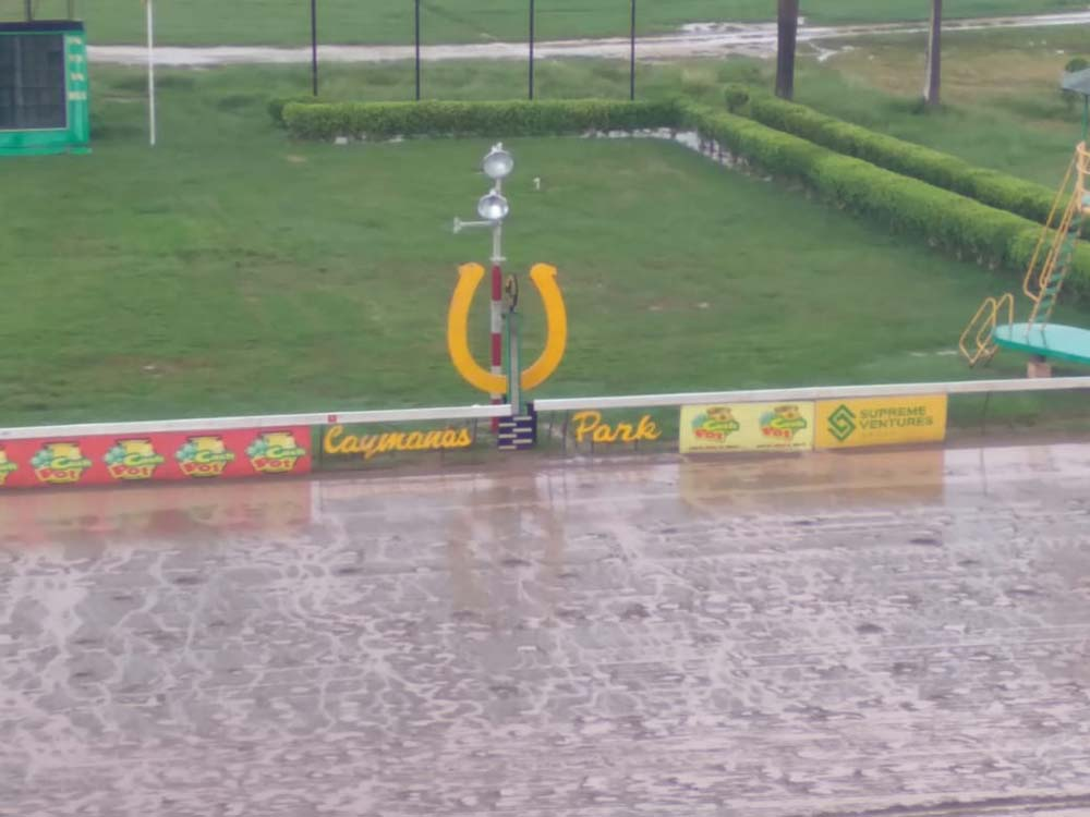 The wet race track at Caymanas Park just before the running of the 100th Jamaica Derby.