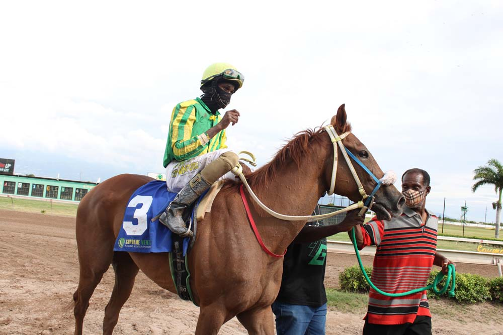 A smiling Orlando Foster guides Azul into the winners' enclosure. (Photo: Kimberly Bartlett)