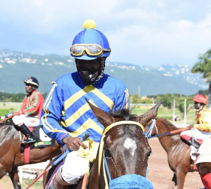 Jockey Dane Nelson on his third winner Mirabilis.