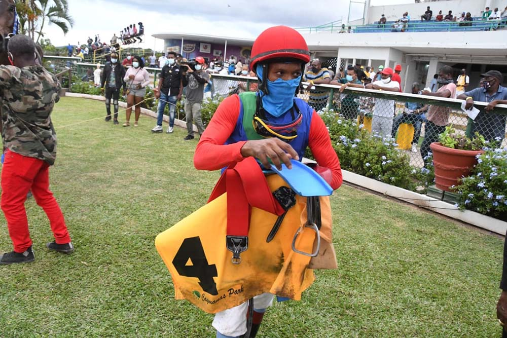 Jockey Anthony Thomas after completing a double on the day.