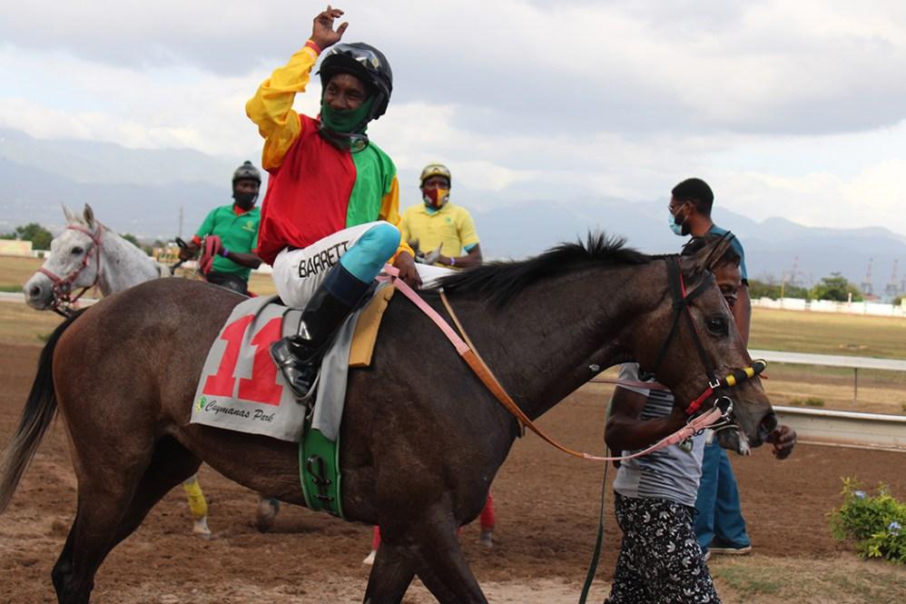A happy jockey Jordan Barrett raises his hand in triumph after winning on Amy The Butcher. (Photo: Kimberly Bartlett)