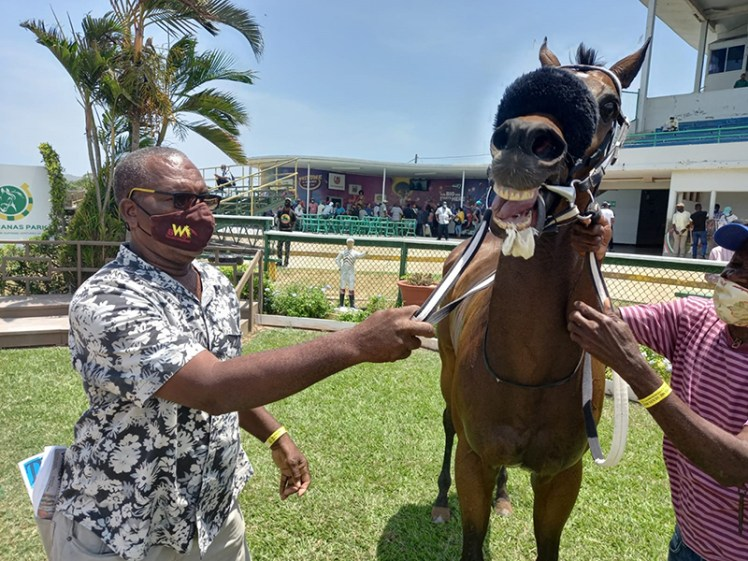 Trainer Renex Burrell with his winning charge Chief of State.