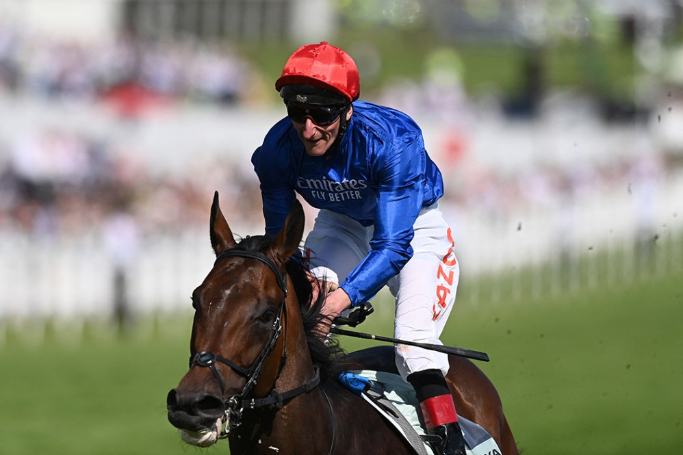 Adayar ridden by Adam Kirby wins the Epsom Derby on the second day of the Epsom Derby Festival horse racing event at Epsom Downs Racecourse in Surrey, southern England on June 5, 2021.