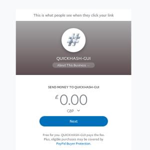 QuickHash Paypal.me link