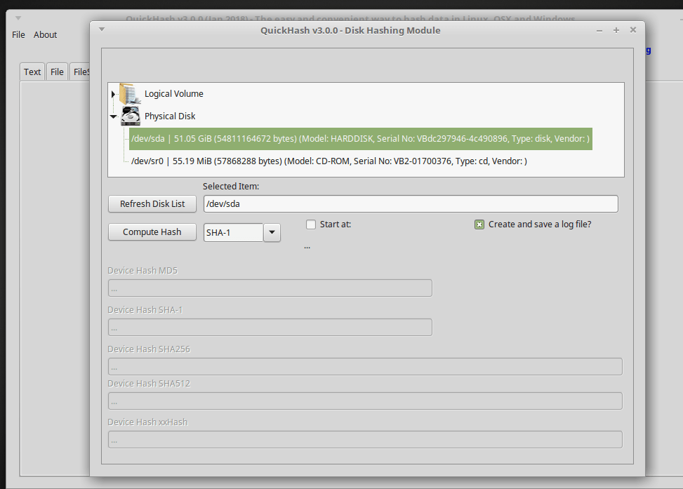 QuickHash v3.0.0 disk module on Linux Mint