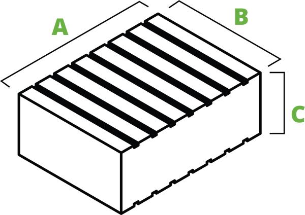Low-profile rubber block spec diagram