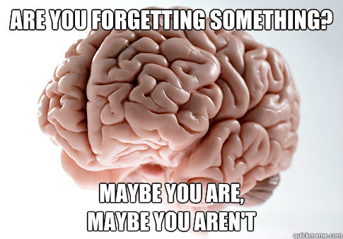 Are you Forgetting something? Maybe you are, Maybe you aren't - Are you Forgetting something? Maybe you are, Maybe you aren't  Scumbag Brain