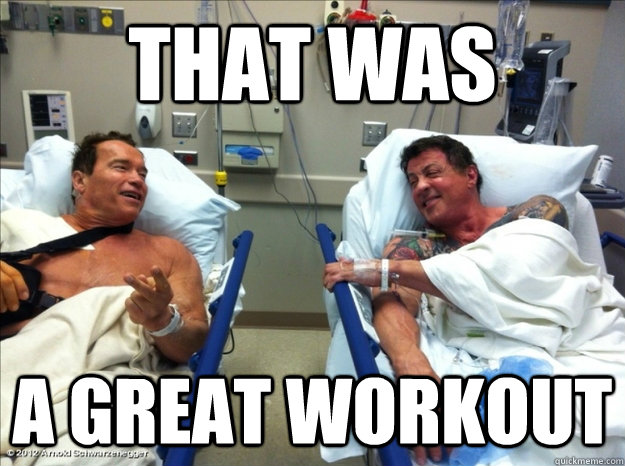 arnold Schwarzenegger after intense workout