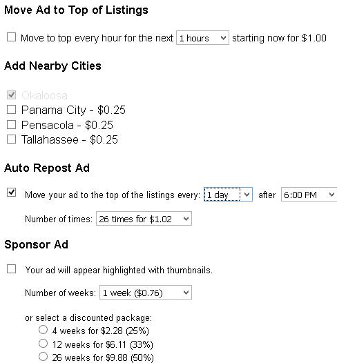 backpage upgrade options