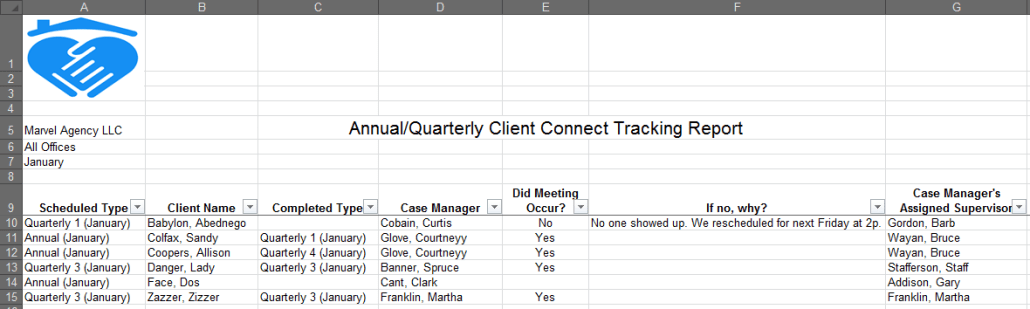 Annual/Quarterly Client Connect Tracking Report