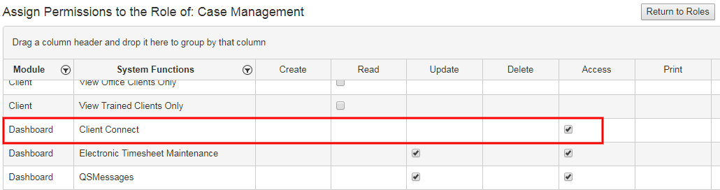 Client Connect Dashboard security permission