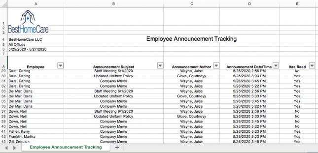 Employee Announcement Tracking in QSP