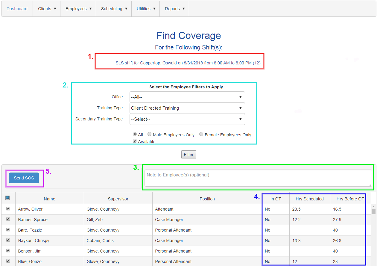 Open Shift - SOS find coverage screen