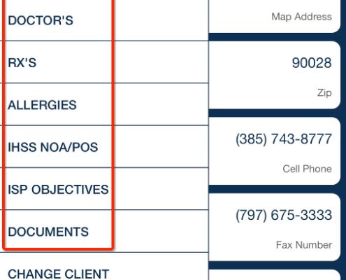 client menu QSP Mobile