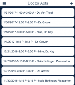 mobile client doctor appointment tracking