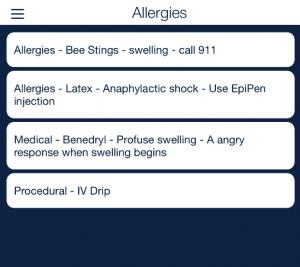 client allergies mobile list