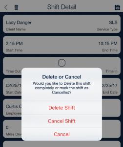 delete or cancel scheduled shift_qsp mobile app