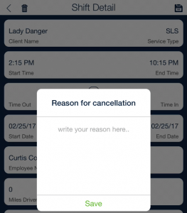 cancel shift with reason_qsp mobile app