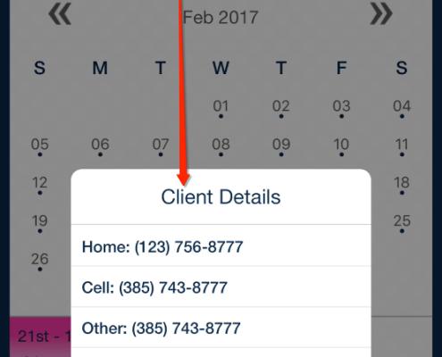 client contact details from schedule_qsp mobile app