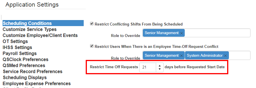 TOR app setting time restriction