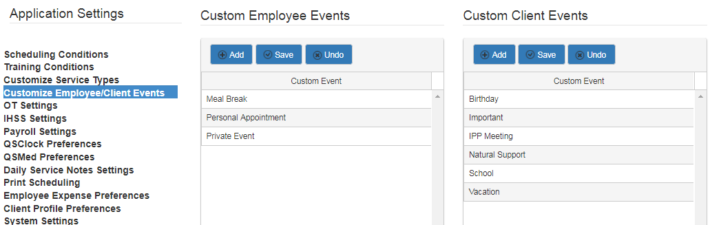 custom client and employee event scheduling in QSP
