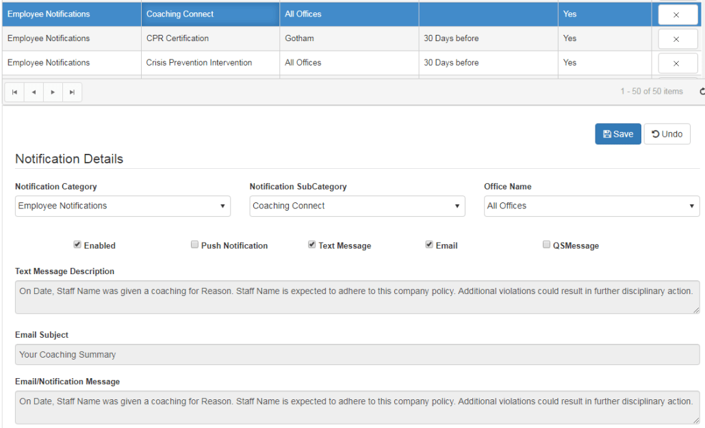 employee coaching connect notification