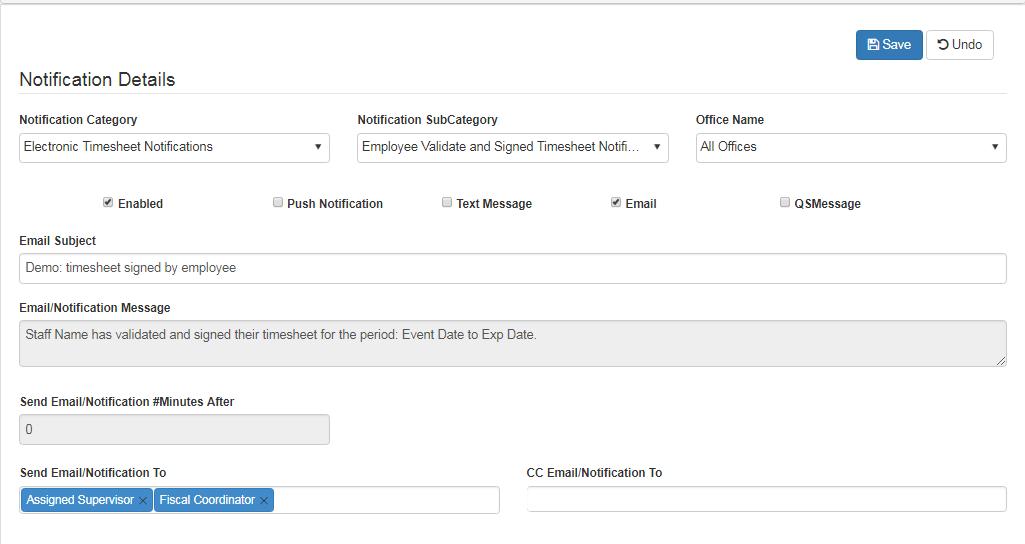 electronic timesheet notifications
