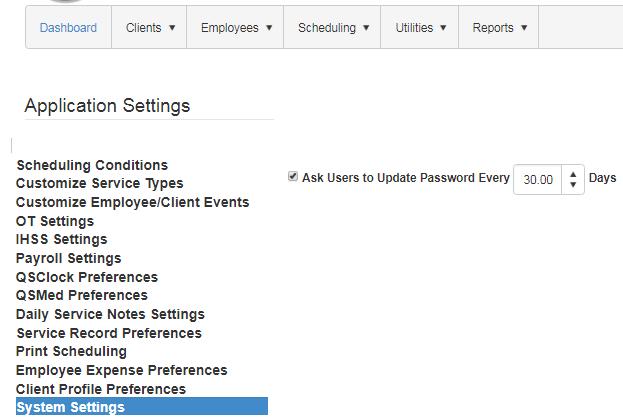 system password settings