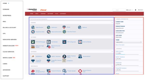 Dreamhost control panel menu next to InMotion's cPanel menu