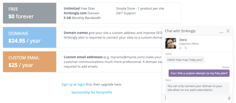Strikingly free ecommerce support confirms you have to use a subdomain