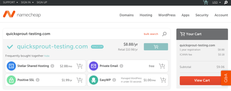 Namecheap upsells during domain registration