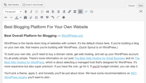 Backend of WordPress blog post